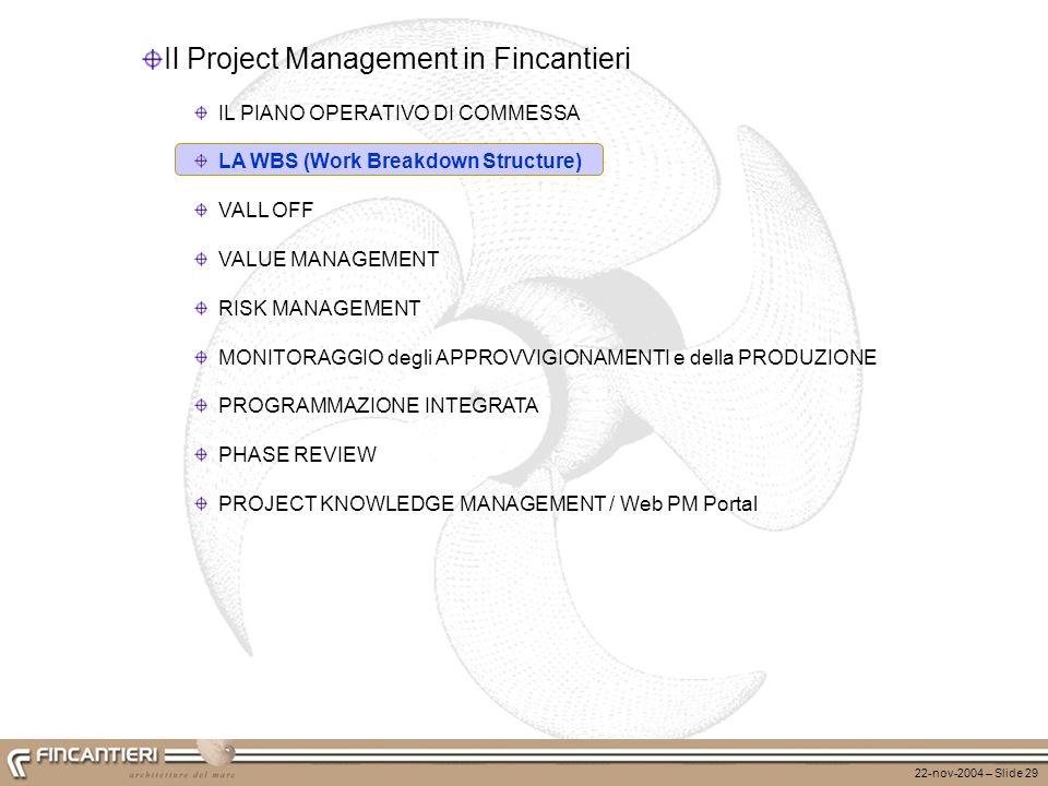 22-nov-2004 – Slide 30 WBSWBS Il Project Management in Fincantieri CBS Materiali Subforniture Spese dirette Progettazione Produzione...