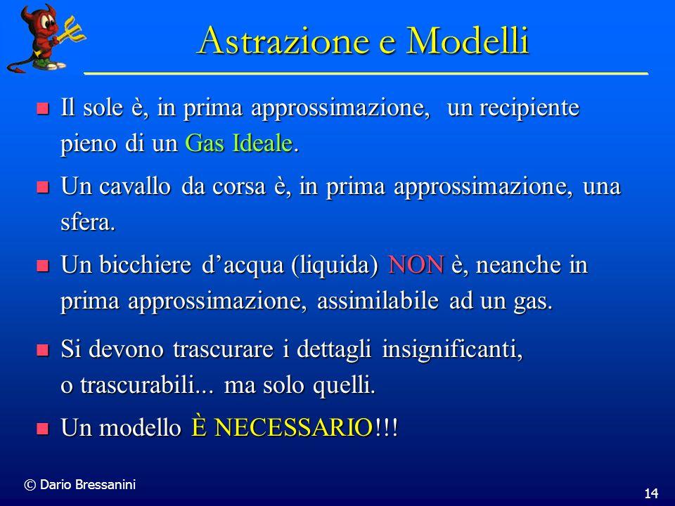 © Dario Bressanini 14 Astrazione e Modelli Il sole è, in prima approssimazione, un recipiente pieno di un Gas Ideale. Il sole è, in prima approssimazi