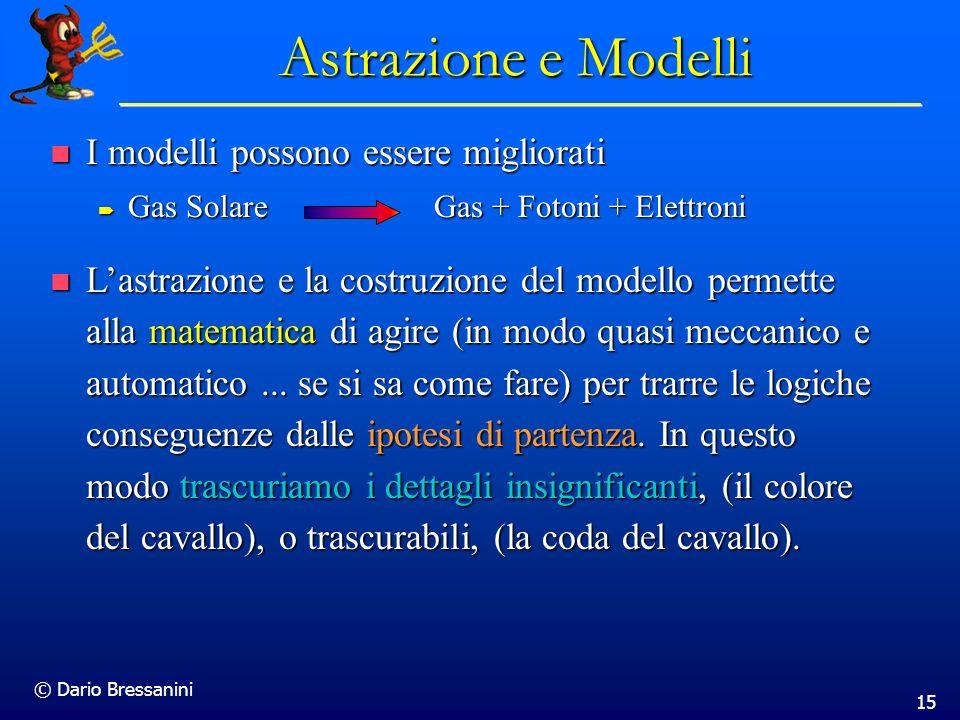 © Dario Bressanini 15 Astrazione e Modelli I modelli possono essere migliorati I modelli possono essere migliorati Gas Solare Gas + Fotoni + Elettroni