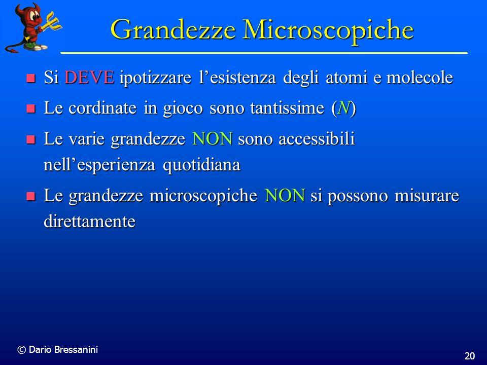 © Dario Bressanini 20 Grandezze Microscopiche Si DEVE ipotizzare lesistenza degli atomi e molecole Si DEVE ipotizzare lesistenza degli atomi e molecol
