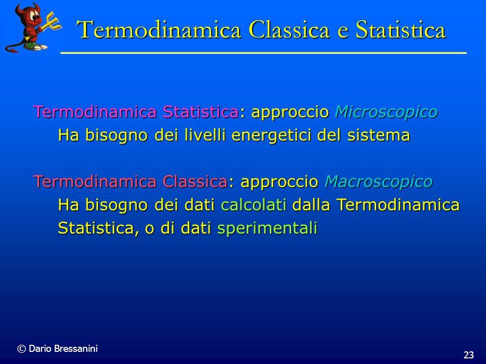 © Dario Bressanini 23 Termodinamica Classica e Statistica Termodinamica Statistica: approccio Microscopico Ha bisogno dei livelli energetici del siste