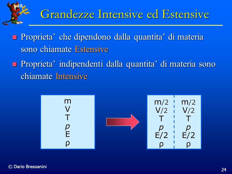 © Dario Bressanini 24 1-16 Grandezze Intensive ed Estensive Proprieta che dipendono dalla quantita di materia sono chiamate Estensive Proprieta che di