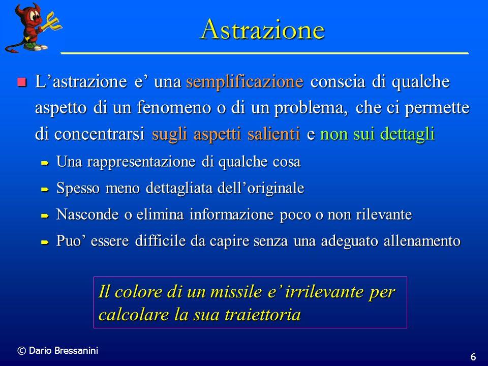 6 Astrazione Lastrazione e una semplificazione conscia di qualche aspetto di un fenomeno o di un problema, che ci permette di concentrarsi sugli aspet