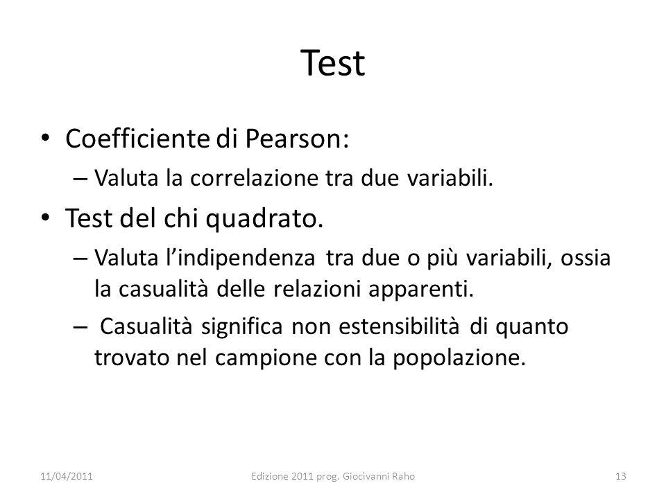 Test Coefficiente di Pearson: – Valuta la correlazione tra due variabili. Test del chi quadrato. – Valuta lindipendenza tra due o più variabili, ossia