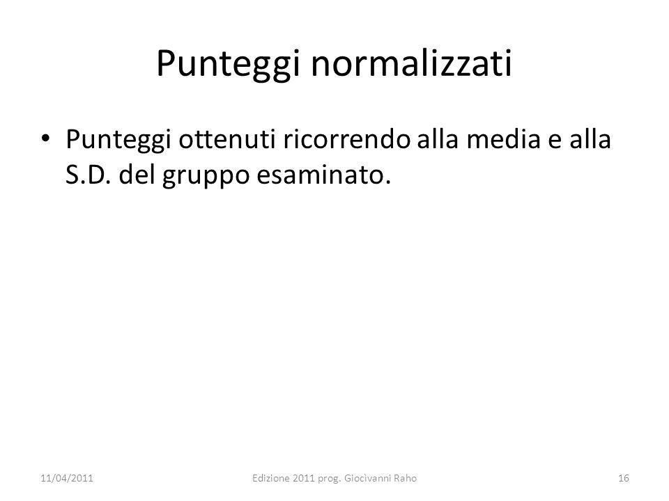 Punteggi normalizzati Punteggi ottenuti ricorrendo alla media e alla S.D. del gruppo esaminato. 11/04/2011Edizione 2011 prog. Giocìvanni Raho16