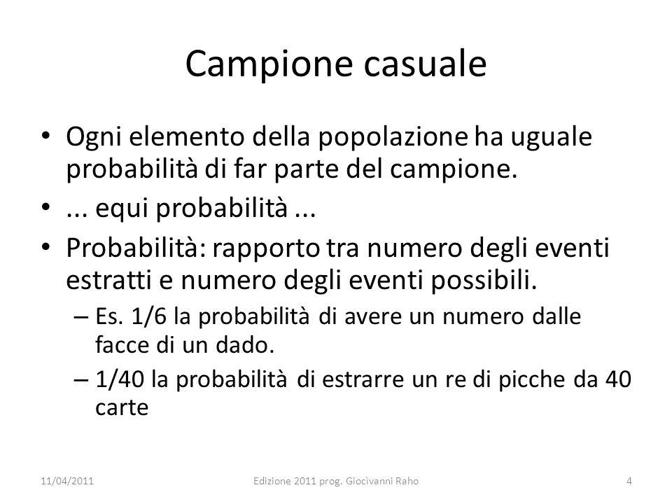 Campione casuale Ogni elemento della popolazione ha uguale probabilità di far parte del campione.... equi probabilità... Probabilità: rapporto tra num