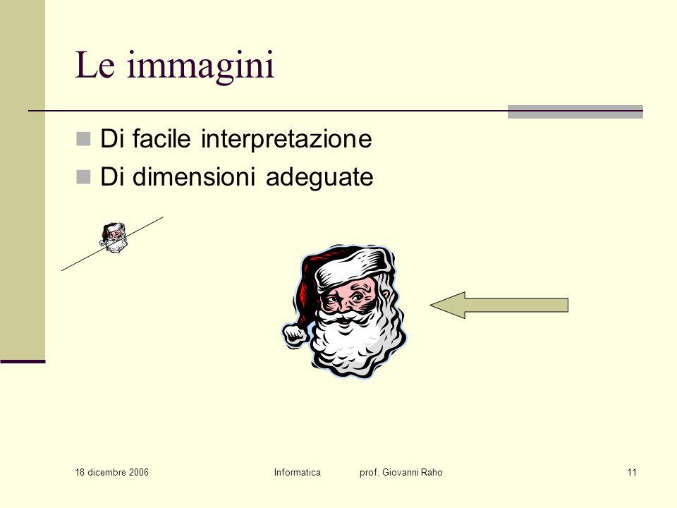 18 dicembre 2006 Informatica prof. Giovanni Raho11 Le immagini Di facile interpretazione Di dimensioni adeguate