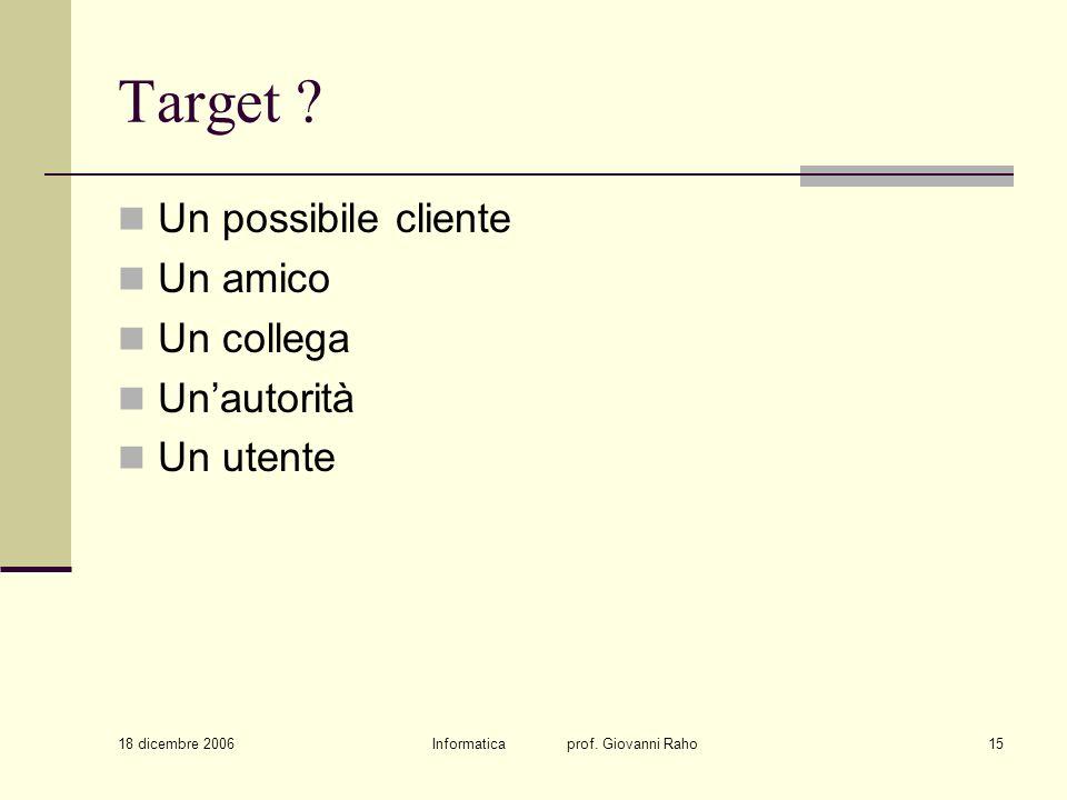 18 dicembre 2006 Informatica prof. Giovanni Raho15 Target ? Un possibile cliente Un amico Un collega Unautorità Un utente
