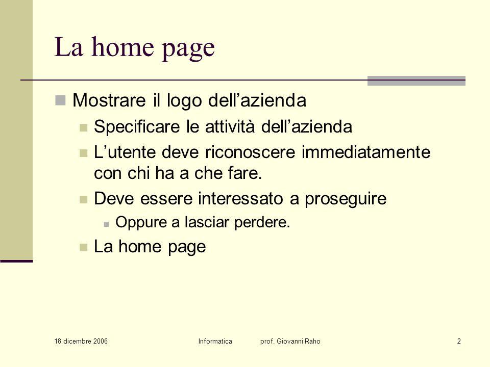 18 dicembre 2006 Informatica prof. Giovanni Raho2 La home page Mostrare il logo dellazienda Specificare le attività dellazienda Lutente deve riconosce