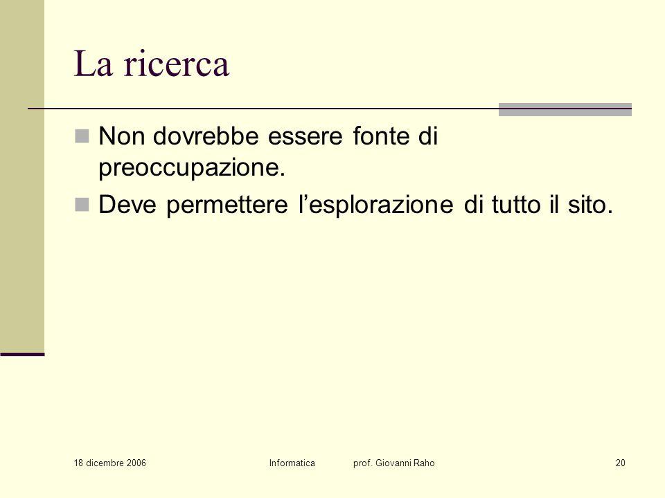 18 dicembre 2006 Informatica prof. Giovanni Raho20 La ricerca Non dovrebbe essere fonte di preoccupazione. Deve permettere lesplorazione di tutto il s