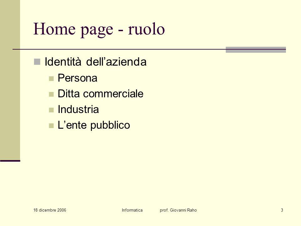 18 dicembre 2006 Informatica prof. Giovanni Raho3 Home page - ruolo Identità dellazienda Persona Ditta commerciale Industria Lente pubblico