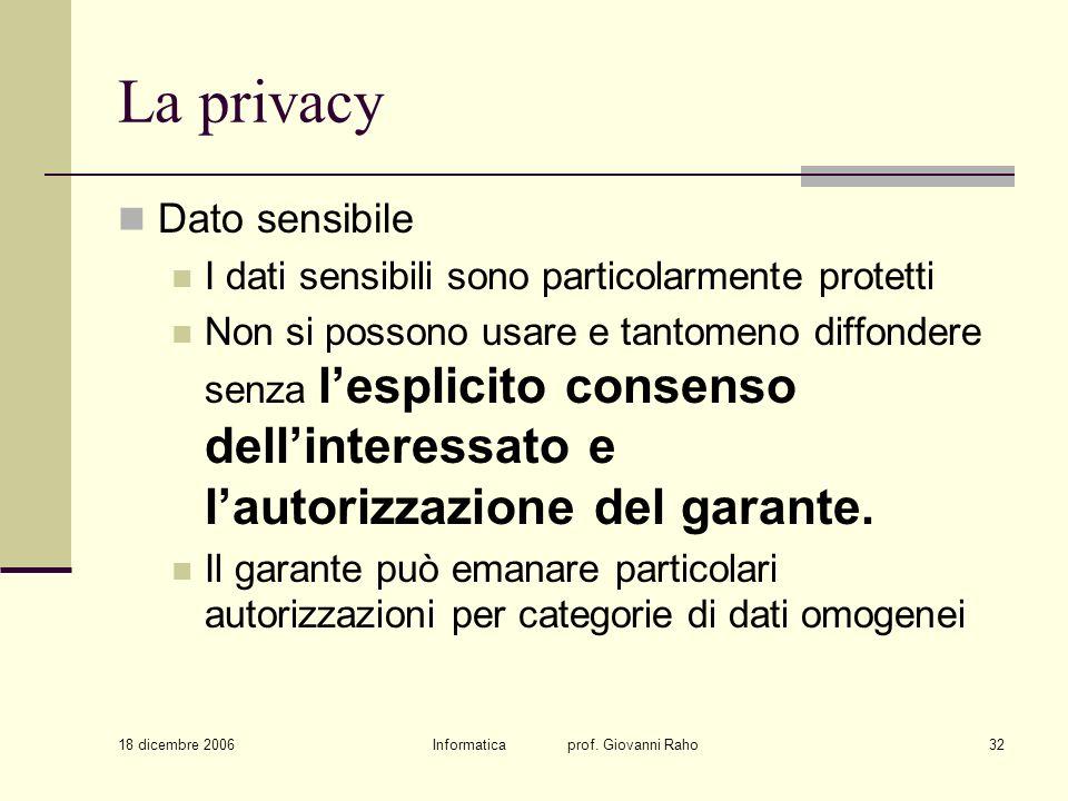 18 dicembre 2006 Informatica prof. Giovanni Raho32 La privacy Dato sensibile I dati sensibili sono particolarmente protetti Non si possono usare e tan