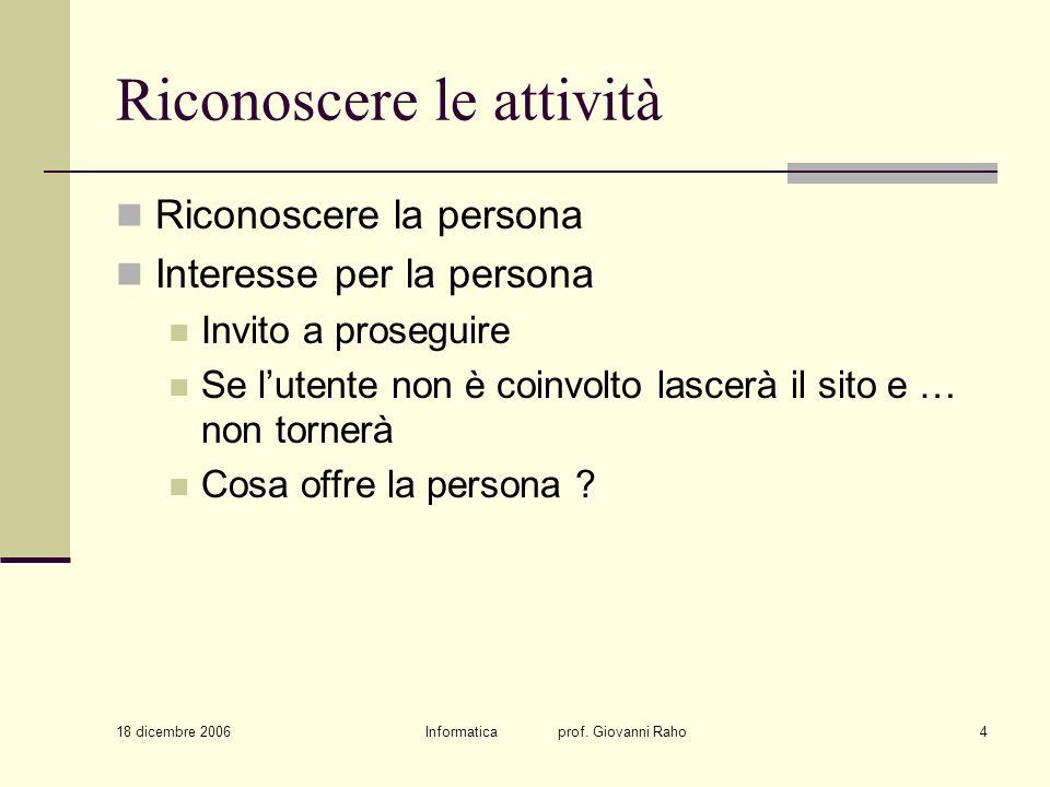 18 dicembre 2006 Informatica prof. Giovanni Raho4 Riconoscere le attività Riconoscere la persona Interesse per la persona Invito a proseguire Se luten