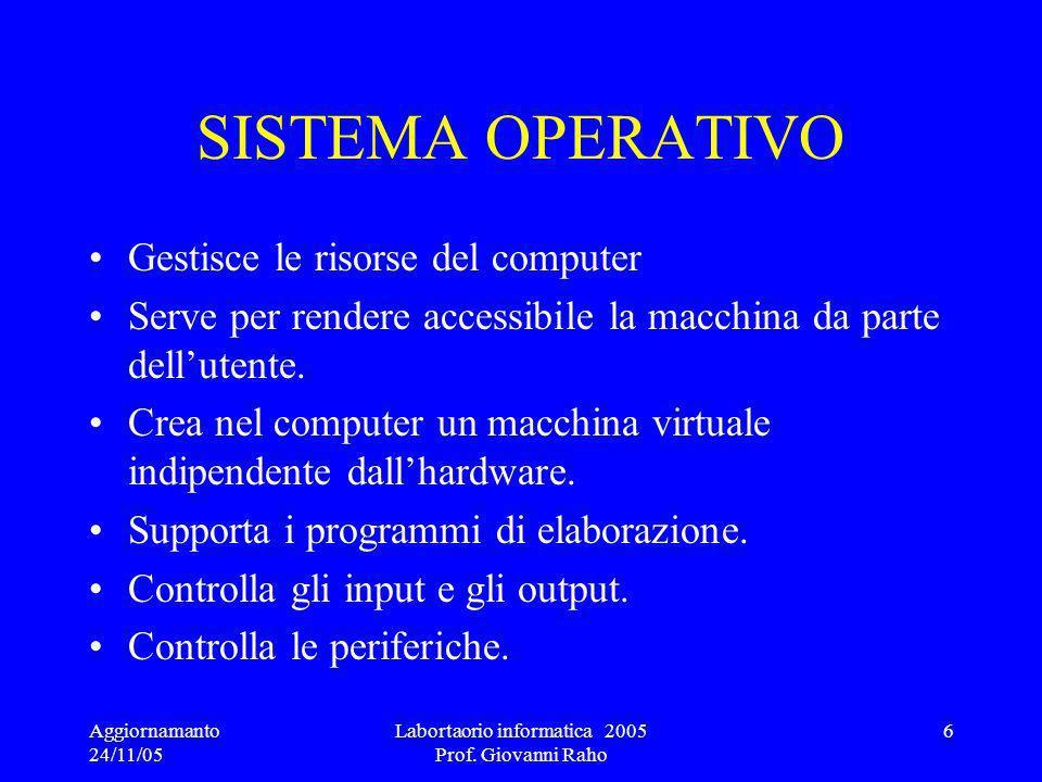 Aggiornamanto 24/11/05 Labortaorio informatica 2005 Prof. Giovanni Raho 37 Esempi Formule