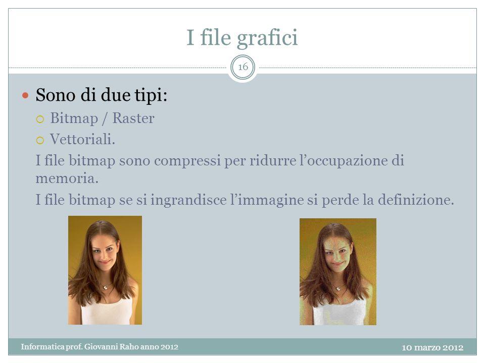 I file grafici Sono di due tipi: Bitmap / Raster Vettoriali.