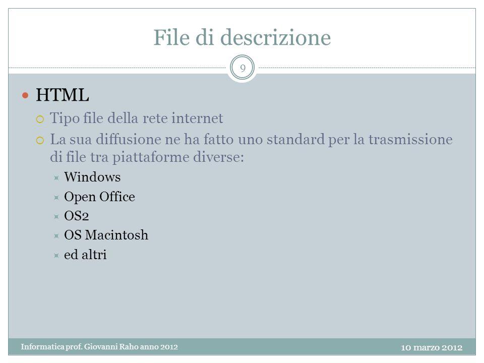 File di descrizione HTML Tipo file della rete internet La sua diffusione ne ha fatto uno standard per la trasmissione di file tra piattaforme diverse: Windows Open Office OS2 OS Macintosh ed altri 9 Informatica prof.