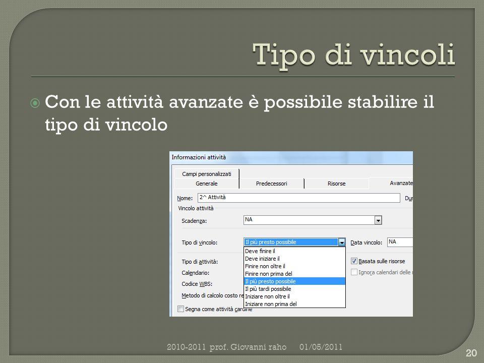 Con le attività avanzate è possibile stabilire il tipo di vincolo 01/05/20112010-2011 prof.