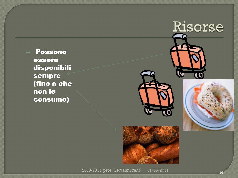 Possono essere disponibili sempre (fino a che non le consumo) 01/05/20112010-2011 prof.