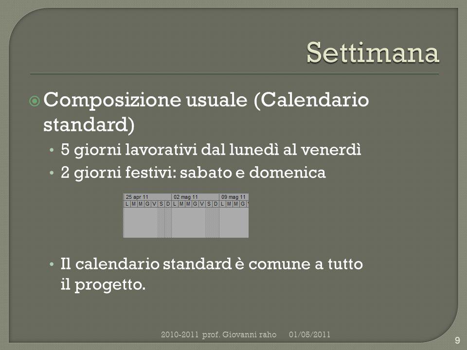 Composizione usuale (Calendario standard) 5 giorni lavorativi dal lunedì al venerdì 2 giorni festivi: sabato e domenica Il calendario standard è comune a tutto il progetto.