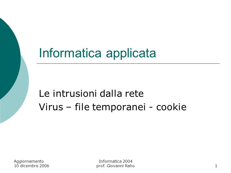 Aggiornamento 10 dicembre 2006 Informatica 2004 prof. Giovanni Raho22 Macro - protezione