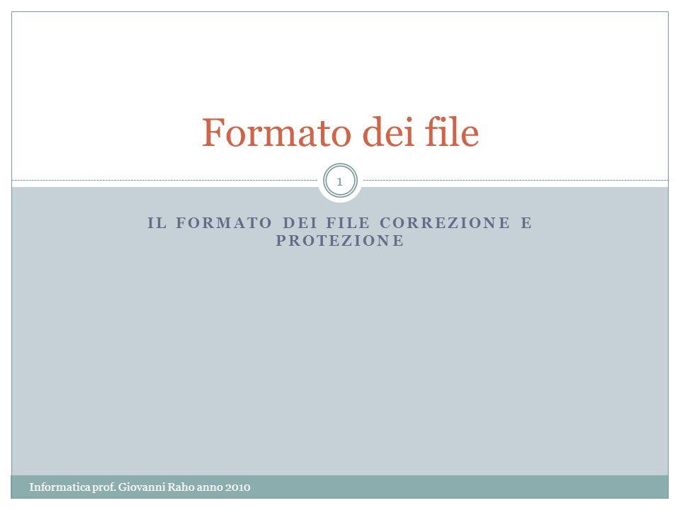 IL FORMATO DEI FILE CORREZIONE E PROTEZIONE Formato dei file 1 Informatica prof.