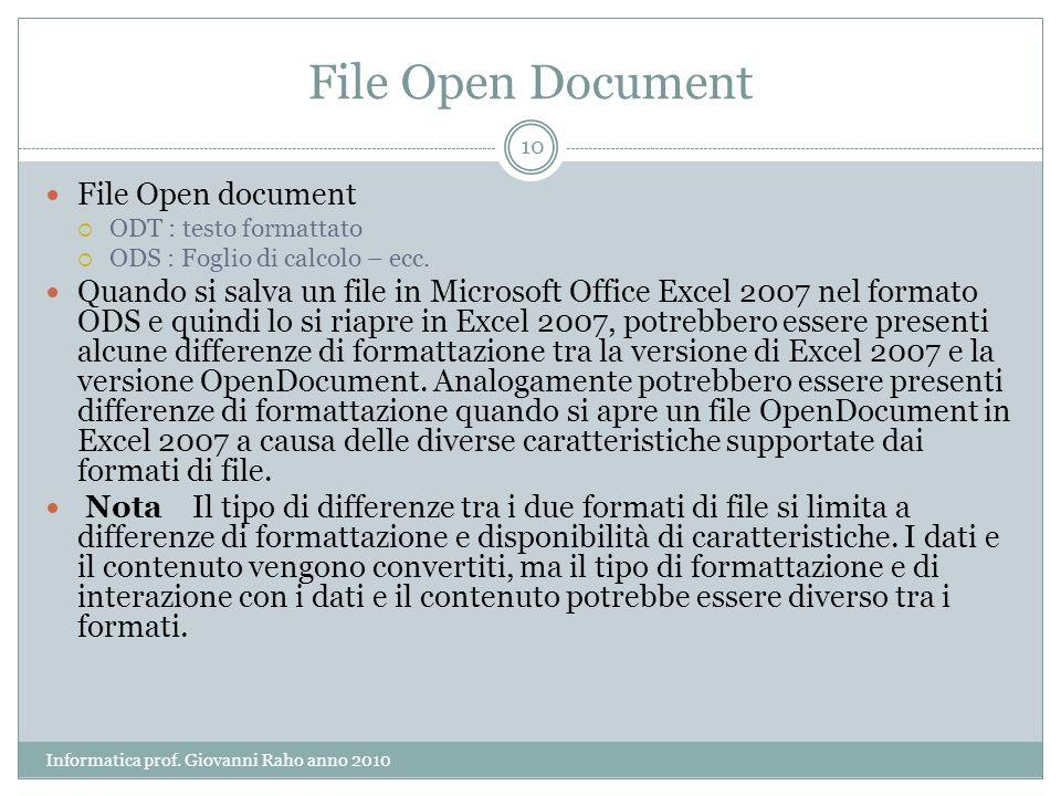 File Open Document File Open document ODT : testo formattato ODS : Foglio di calcolo – ecc.
