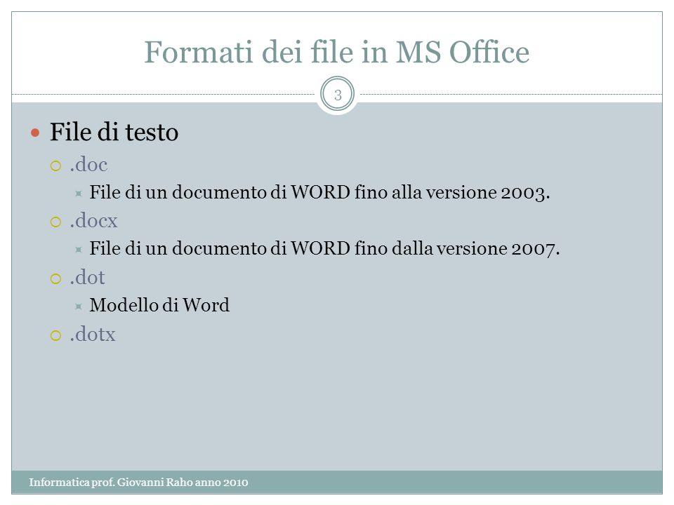 Formati dei file in MS Office File di testo.doc File di un documento di WORD fino alla versione 2003..docx File di un documento di WORD fino dalla ver