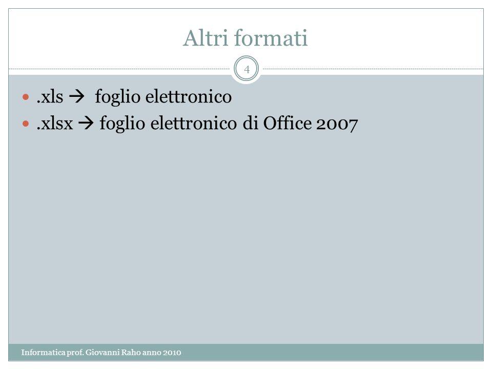 Altri formati.xls foglio elettronico.xlsx foglio elettronico di Office 2007 4 Informatica prof.