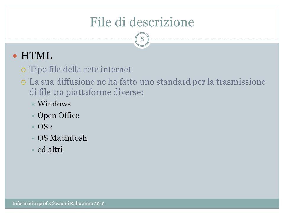 File di descrizione HTML Tipo file della rete internet La sua diffusione ne ha fatto uno standard per la trasmissione di file tra piattaforme diverse: Windows Open Office OS2 OS Macintosh ed altri 8 Informatica prof.