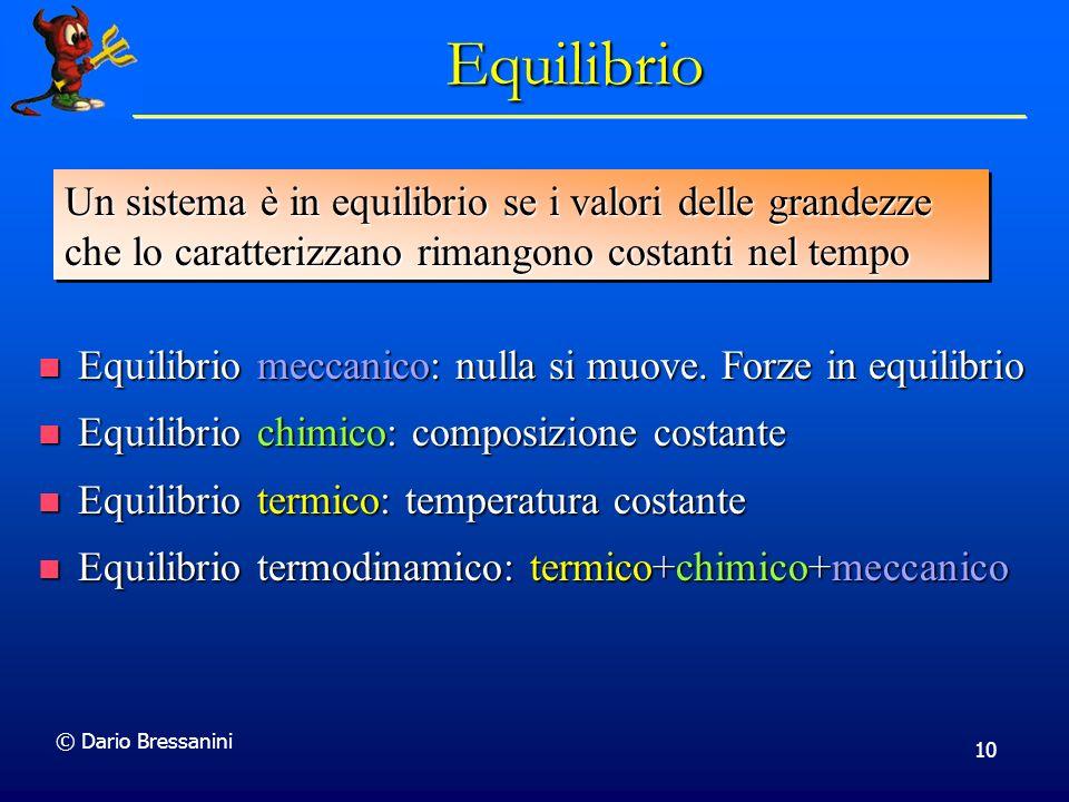 © Dario Bressanini 10 Equilibrio Equilibrio meccanico: nulla si muove. Forze in equilibrio Equilibrio meccanico: nulla si muove. Forze in equilibrio E