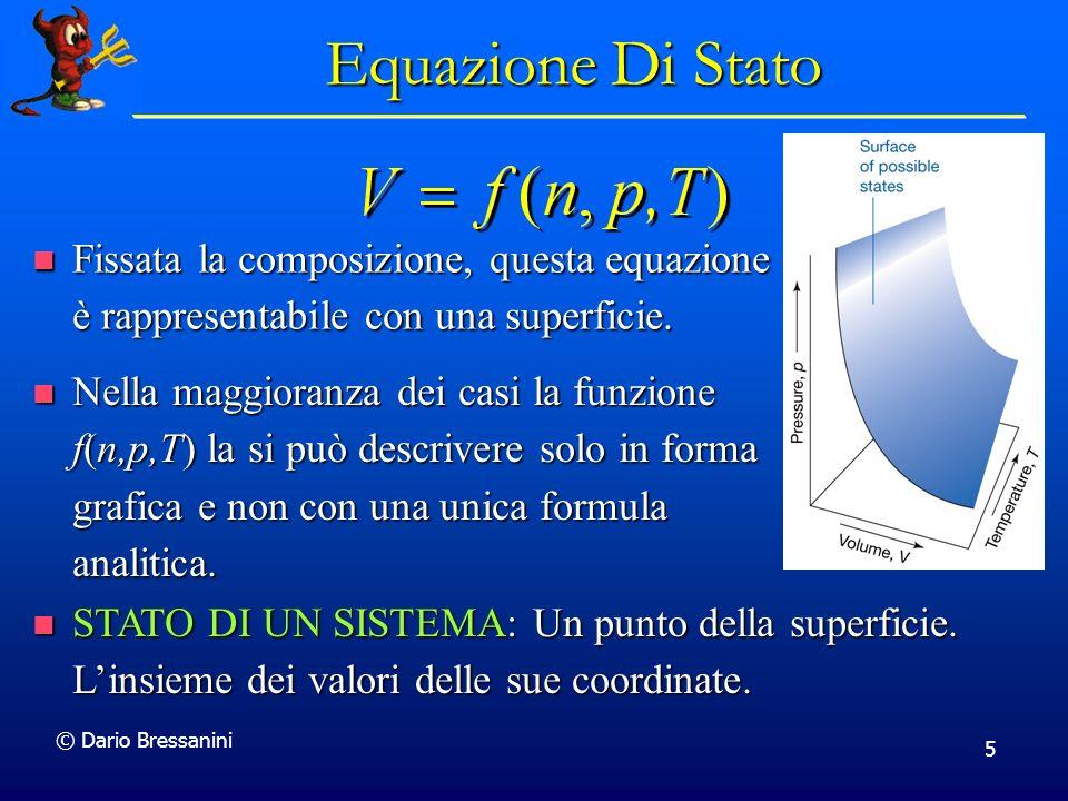 © Dario Bressanini 5 Equazione Di Stato Fissata la composizione, questa equazione è rappresentabile con una superficie. Fissata la composizione, quest