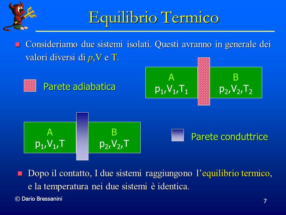 © Dario Bressanini 7 Equilibrio Termico Consideriamo due sistemi isolati. Questi avranno in generale dei valori diversi di p,V e T. Consideriamo due s