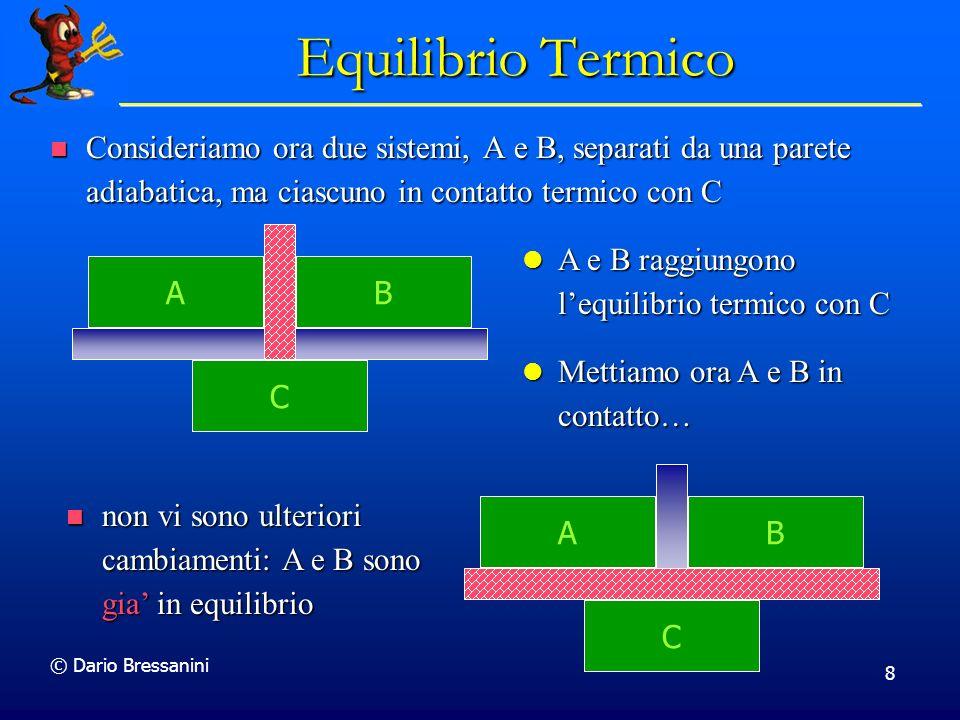 © Dario Bressanini 8 Equilibrio Termico Consideriamo ora due sistemi, A e B, separati da una parete adiabatica, ma ciascuno in contatto termico con C