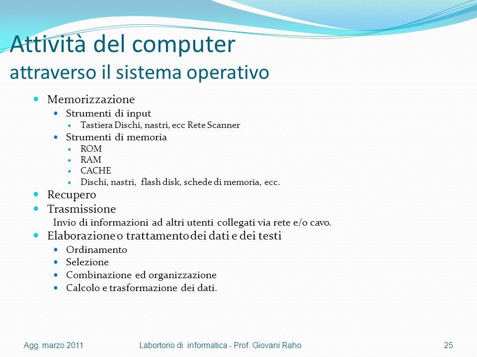 Attività del computer attraverso il sistema operativo Memorizzazione Strumenti di input Tastiera Dischi, nastri, ecc Rete Scanner Strumenti di memoria ROM RAM CACHE Dischi, nastri, flash disk, schede di memoria, ecc.