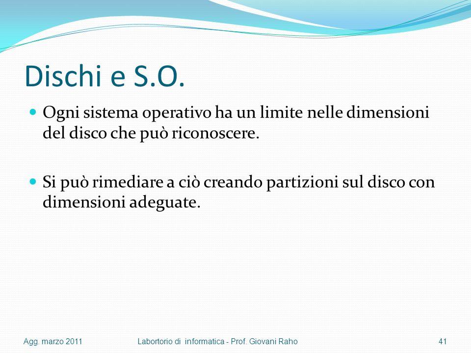 Dischi e S.O. Ogni sistema operativo ha un limite nelle dimensioni del disco che può riconoscere.