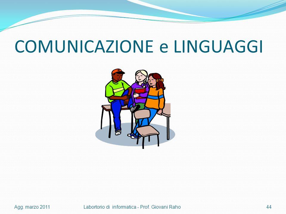 COMUNICAZIONE e LINGUAGGI Agg. marzo 2011Labortorio di informatica - Prof. Giovani Raho44