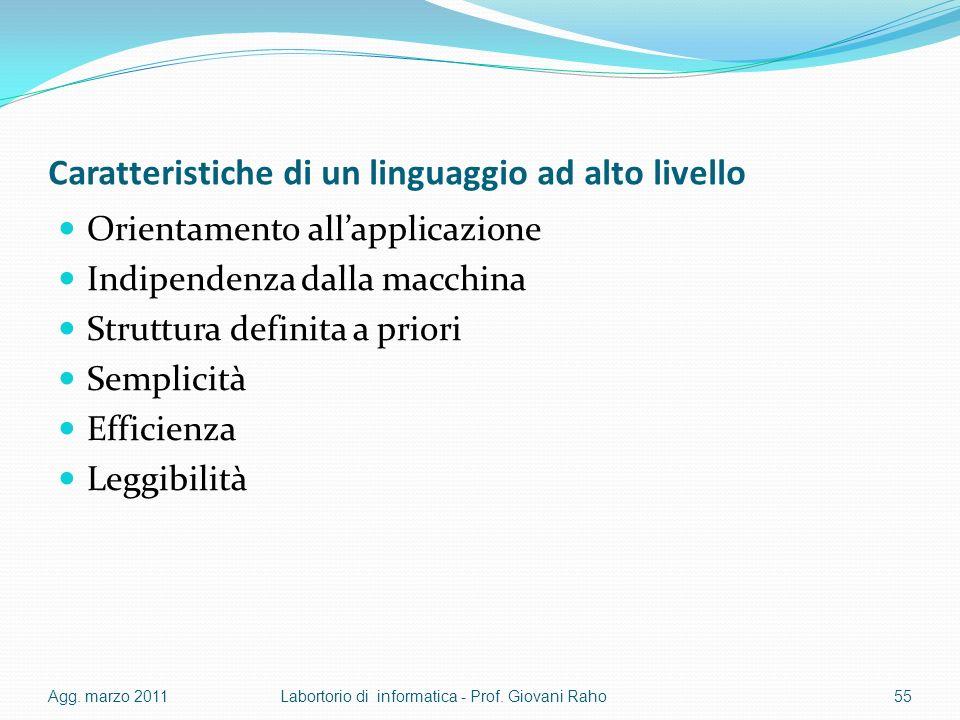 Caratteristiche di un linguaggio ad alto livello Orientamento allapplicazione Indipendenza dalla macchina Struttura definita a priori Semplicità Efficienza Leggibilità Agg.