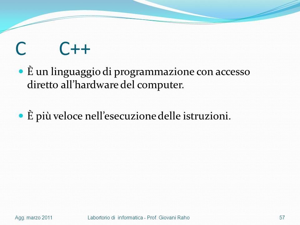 C C++ È un linguaggio di programmazione con accesso diretto allhardware del computer.
