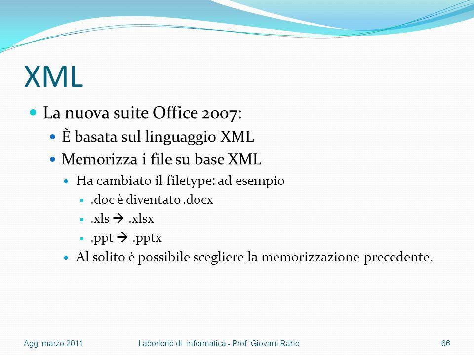 XML La nuova suite Office 2007: È basata sul linguaggio XML Memorizza i file su base XML Ha cambiato il filetype: ad esempio.doc è diventato.docx.xls.xlsx.ppt.pptx Al solito è possibile scegliere la memorizzazione precedente.