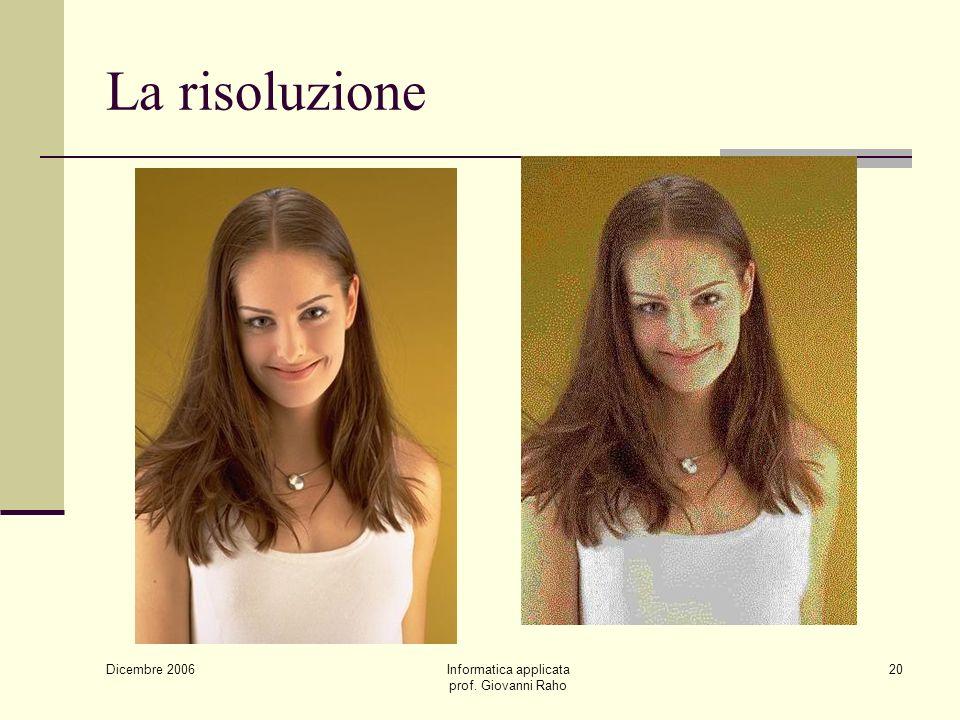 Dicembre 2006 Informatica applicata prof. Giovanni Raho 20 La risoluzione