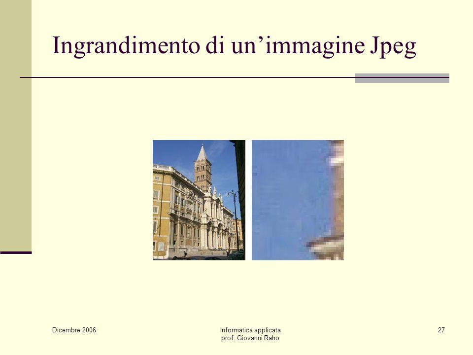 Dicembre 2006 Informatica applicata prof. Giovanni Raho 27 Ingrandimento di unimmagine Jpeg