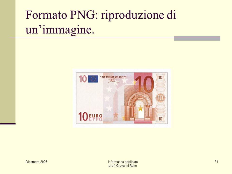 Dicembre 2006 Informatica applicata prof. Giovanni Raho 31 Formato PNG: riproduzione di unimmagine.