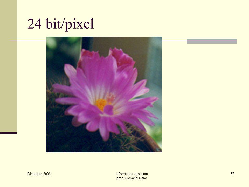 Dicembre 2006 Informatica applicata prof. Giovanni Raho 37 24 bit/pixel