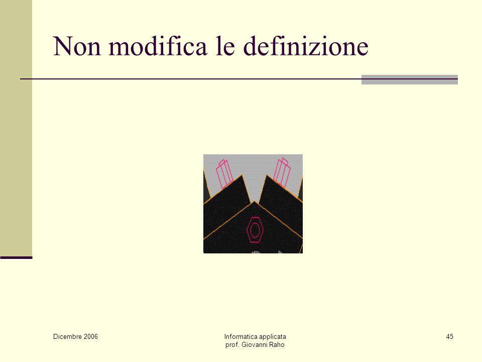 Dicembre 2006 Informatica applicata prof. Giovanni Raho 45 Non modifica le definizione
