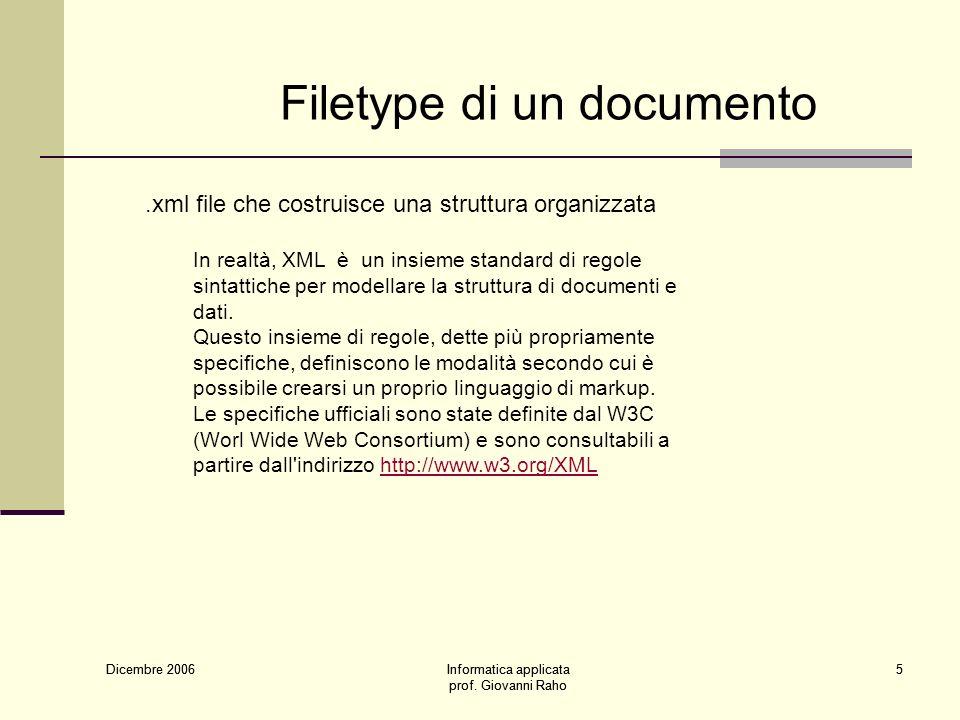 Dicembre 2006 Informatica applicata prof. Giovanni Raho 5 Dicembre 2006 Informatica applicata prof.
