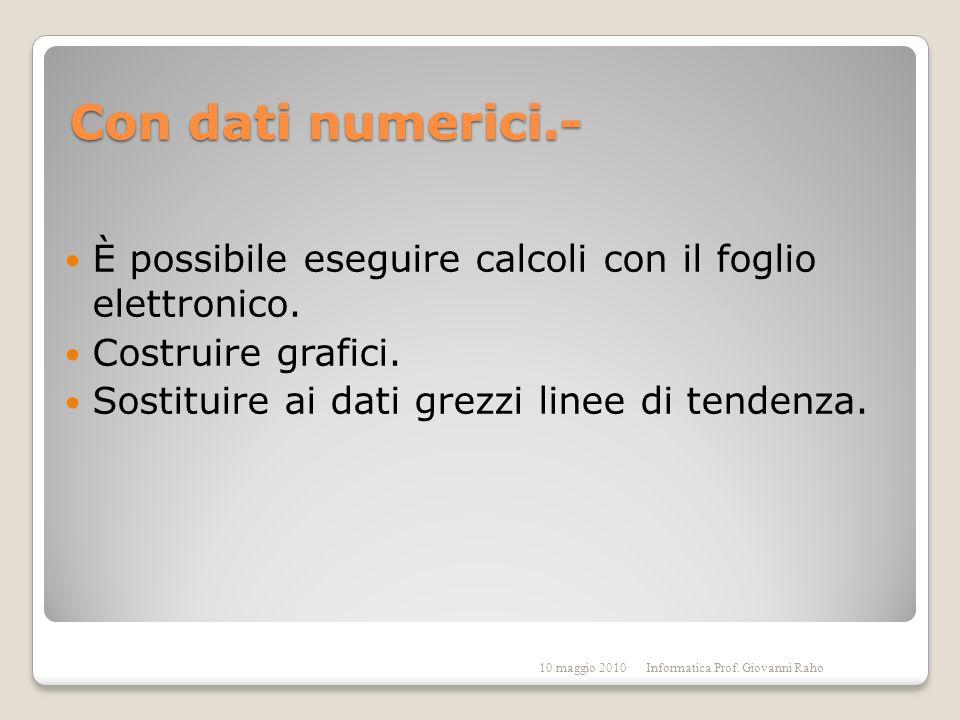 Con dati numerici.- È possibile eseguire calcoli con il foglio elettronico.