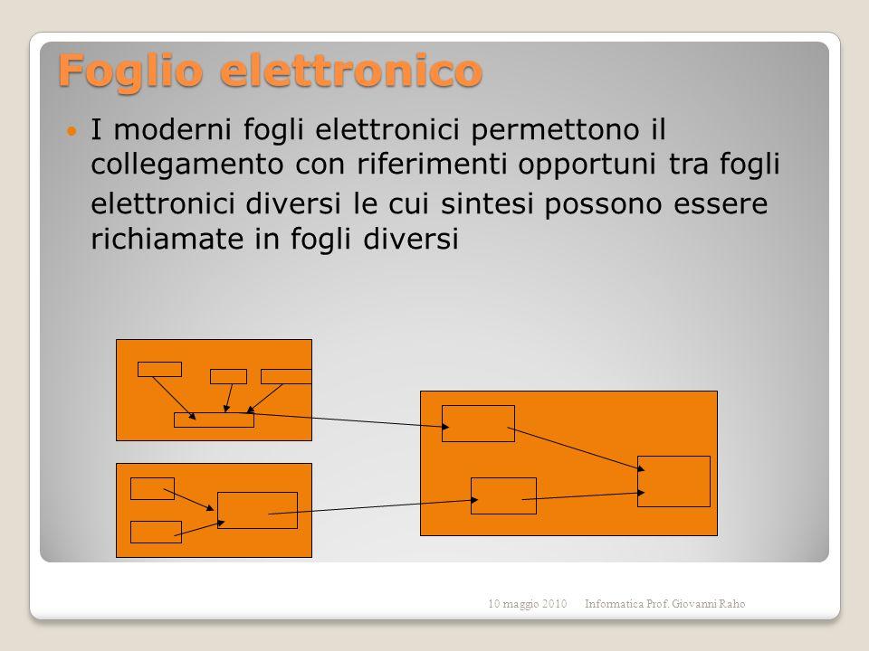 Foglio elettronico I moderni fogli elettronici permettono il collegamento con riferimenti opportuni tra fogli elettronici diversi le cui sintesi possono essere richiamate in fogli diversi 10 maggio 2010Informatica Prof.