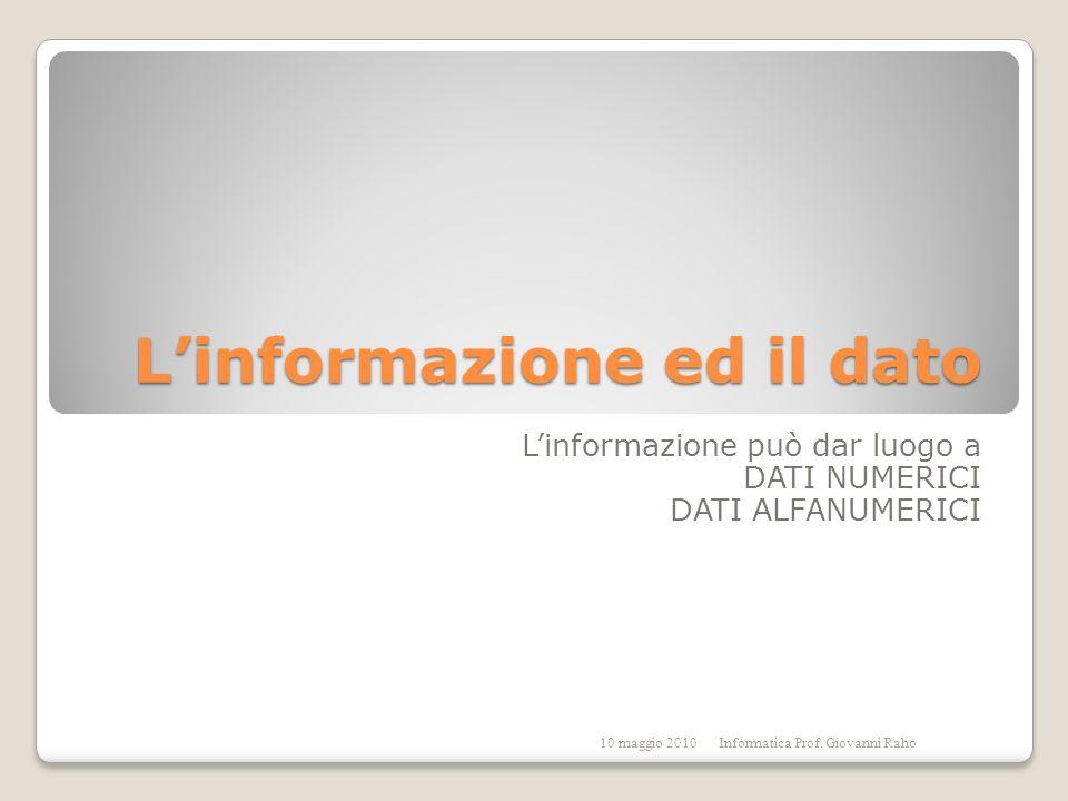 Linformazione ed il dato Linformazione può dar luogo a DATI NUMERICI DATI ALFANUMERICI 10 maggio 2010Informatica Prof.
