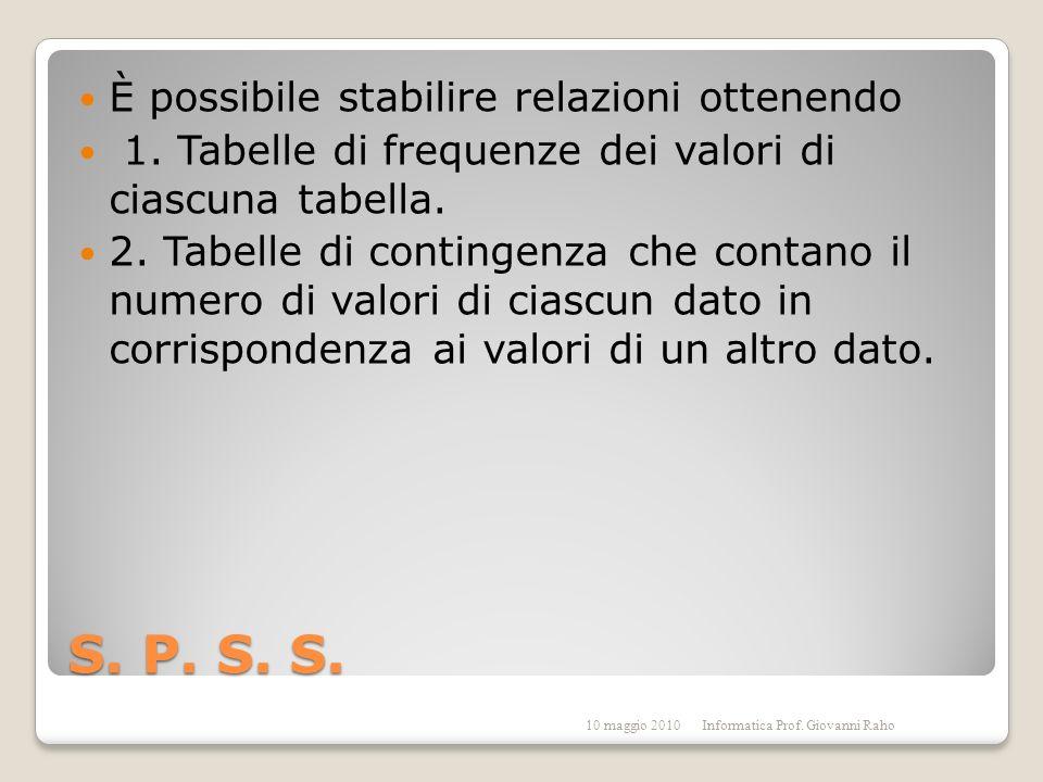 S. P. S. S. È possibile stabilire relazioni ottenendo 1.