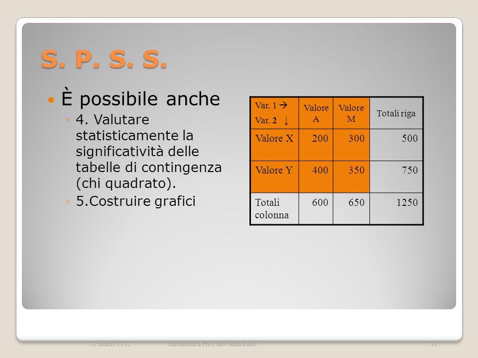 S. P. S. S. È possibile anche 4. Valutare statisticamente la significatività delle tabelle di contingenza (chi quadrato). 5.Costruire grafici Var. 1 V